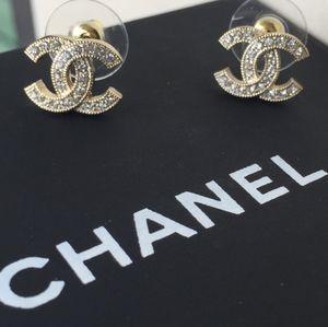 Chanel Gold Classic Rhinestone Earrings